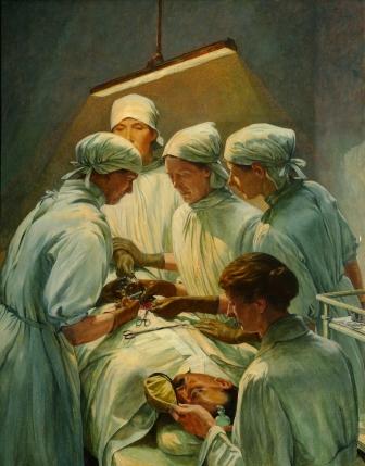 An_Operation_at_the_Military_Hospital,_Endell_Street_-_Dr_L_Garrett,_Dr_Flora_Murray,_Dr_W_Buckley_Art.IWMART4084