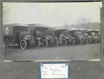 L0046456 World War One: motor ambulances with their women drivers at